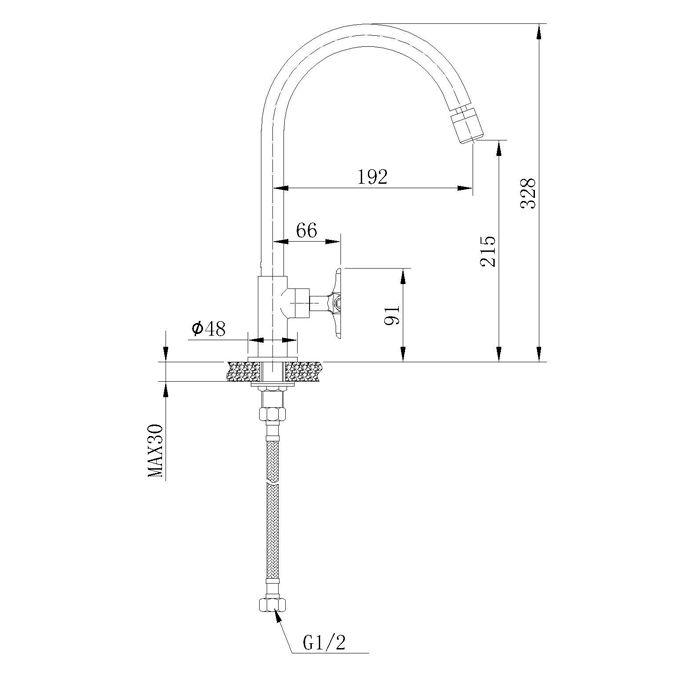 Torneira para Cozinha de Mesa com Bica Móvel Jiwi WJ-1131-219A