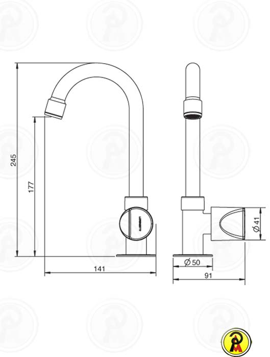 Torneira para Lavatório de Mesa Bica Alta Lorenzetti LorenShape 1195 C46  - Pinezi Compra Rápida