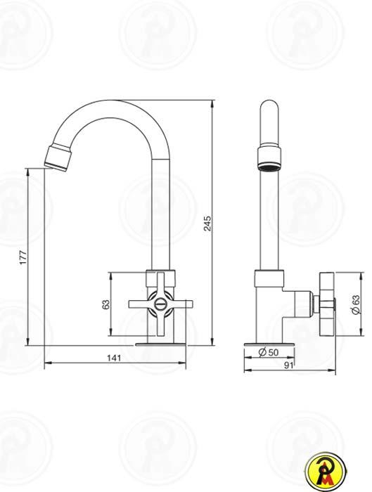 Torneira para Lavatório de Mesa Bica Alta Lorenzetti LorenClub 1195 C47