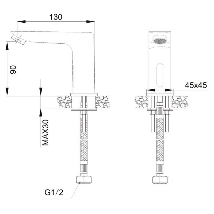 (fora de linha)Torneira para Lavatório de Mesa com Sensor Jiwi WJ-9301