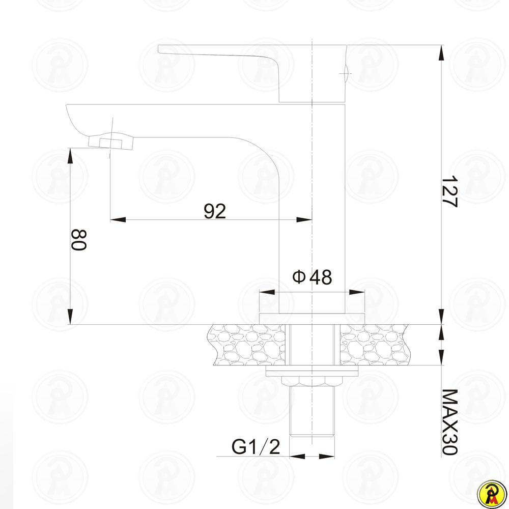Torneira para lavatório de mesa Jiwi WJ-1711-271B