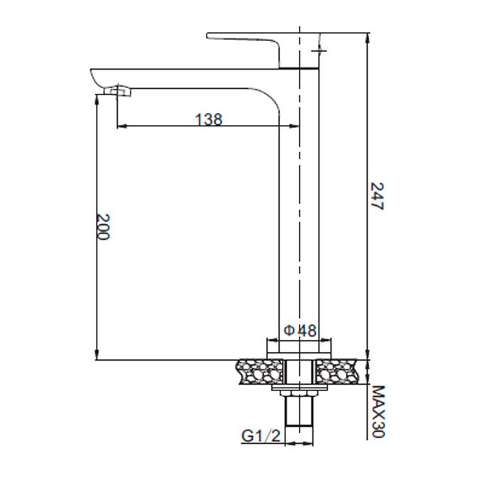 Torneira para lavatório de mesa Jiwi WJ-1718-271B