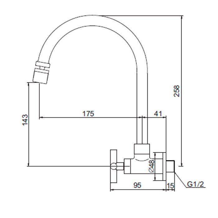 (Sob Consulta) Torneira para Lavatório de Parede Bica Móvel Jiwi WJ-2032-225A