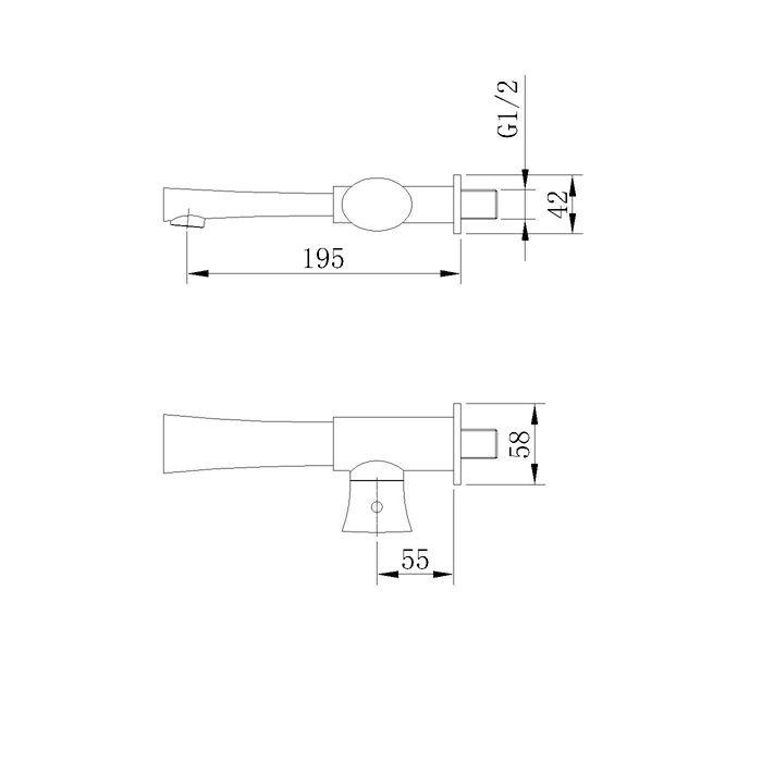 Torneira para Lavatório de Parede Jiwi WJ-1216-183A