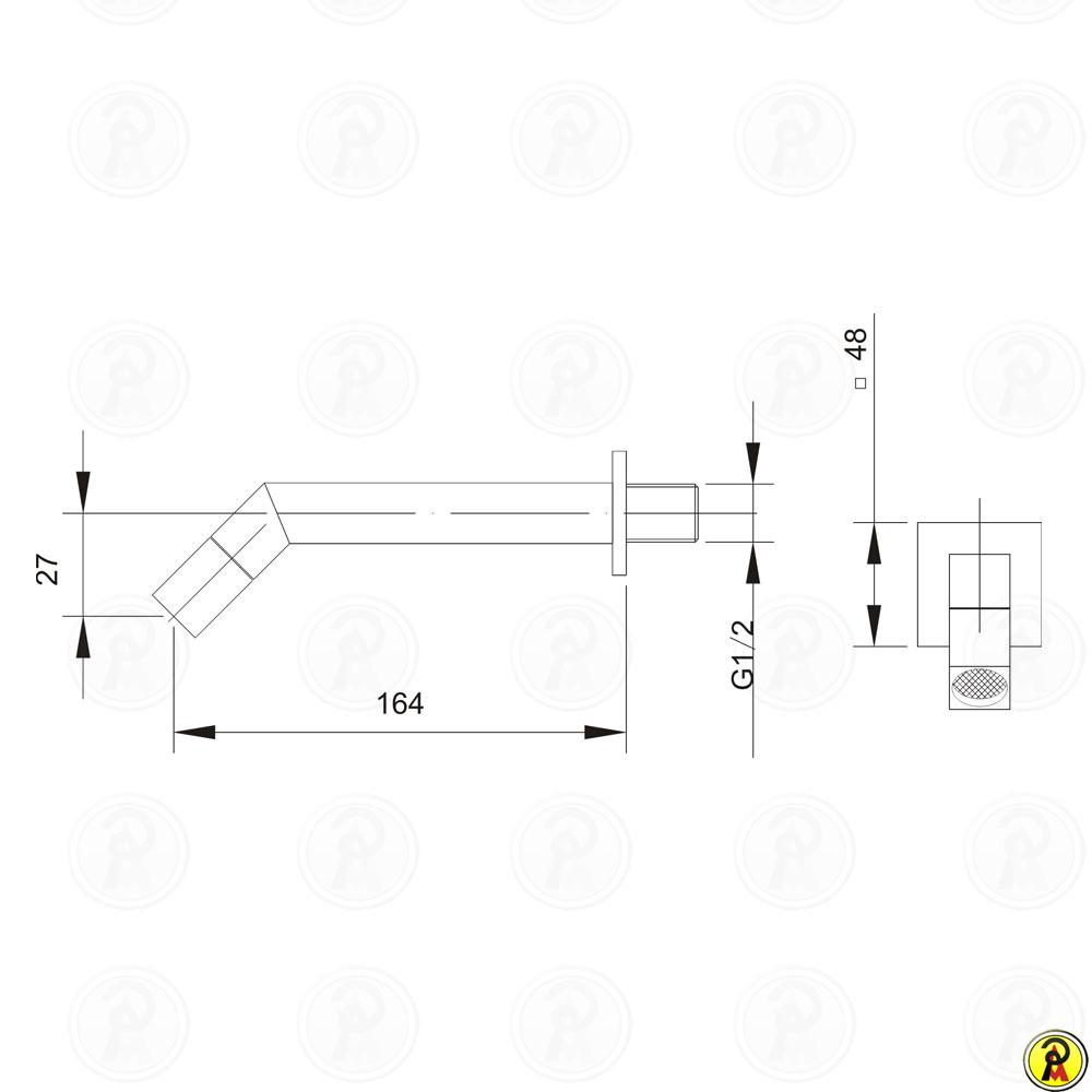 (Fora de Linha) Torneira para Lavatório de Parede Jiwi WJ-1514-205A