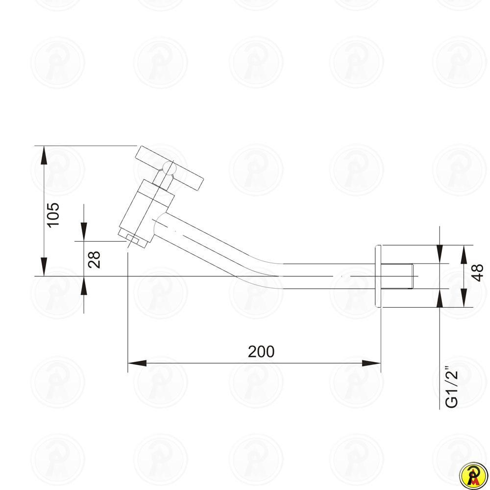 Torneira para Lavatório de Parede Jiwi WJ-2015-225A