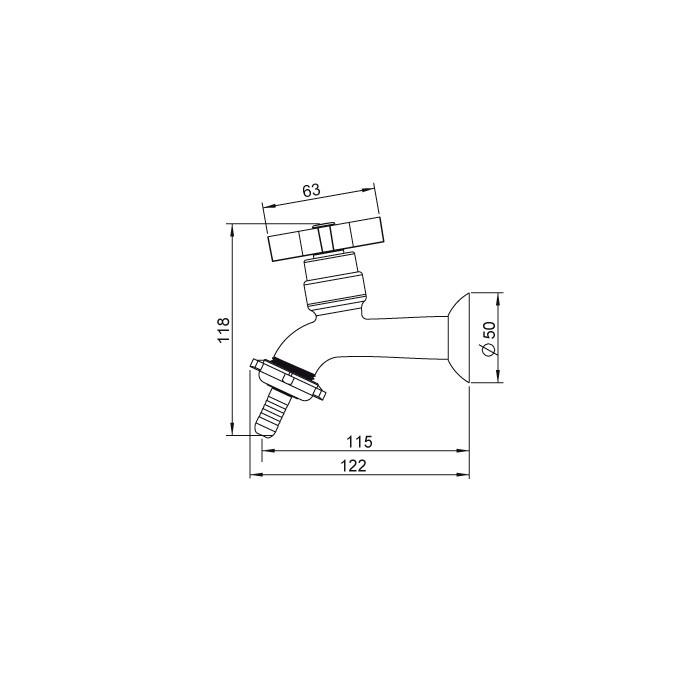 Torneira para Tanque e Jardim Bico União Plástico Lorenzetti LorenClub 1130 C47