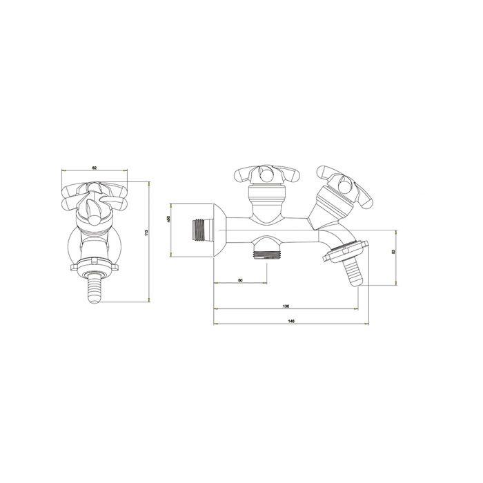 Torneira Tanque com Saída para Máquina de Lavar Fortti 1131 F34 Cromado