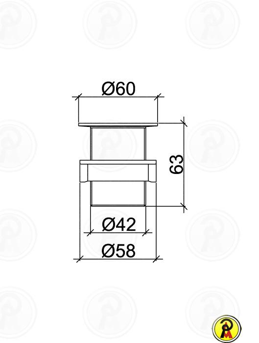 "Válvula para Tanque 2.3/8"" x 1.1/4"" S/L Lorenzetti 1612 C20"