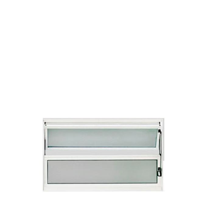 Vitrô Basculante Premium Alumínio Branco Sem Grade Lux