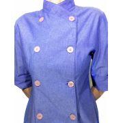 Dólmã Cecília Feminina  Blue Jeans com botões Lilás  Acinturada 100% Algodão