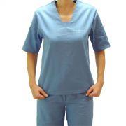 Conjunto Pijama Cirurgico SCRUB UNISEX  AZUL Camisa e Calça com Cordão Tecido 100% algodão