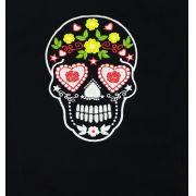 Dólmã Cecília Feminino  Acinturado PRETO CAVEIRA MEXICANA COLORIDA  com vivo e botões BRANCOS Sarja Leve 100% algodão Manga 3/4