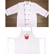 Conjunto Dólmã Clássico Unissex BRANCO com vivo e botões PRETOS 100% algodão manga 3/4 + AVENTAL BRANCO RED VELVET