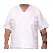 Camisa Pijama Cirúrgico BRANCO Masculino PLUS SIZE  com Tecido 100% algodão
