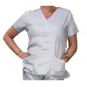 Camisa Scrub Anatomys Feminino CINZA CLARO  com ajuste para acinturar atrás  Botões CINZA  Microfibra Premium 100% Poliéster