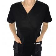 Camisa  Scrub Anatomys Feminino  PRETA  com ajuste para acinturar Atras  Tecido 100% Algodão