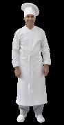 Conjunto Avental 4 Frentes 100% algodão BRANCO  + Calça com elástico total pied poule 75% Poliéster - 25% algodão + Chapéu (não acompanha dolmã)100% algodão