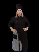 Conjunto Dólmã Cecilia Feminina Acinturado PRETA + Avental Beni Pied Poule  + Chapéu Chef 100% algodão
