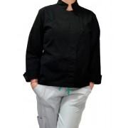 Conjunto Dólmã GRACE Feminino Acinturado PRETA e botões PRESSÃO Sarja Leve 100% algodão + Calça CINZA CLARO ANATOMYS MICROFIBRA CORDÃO Verde Claro