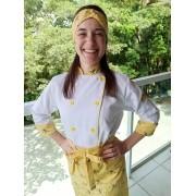 Conjunto Dólmã Poly Feminino Branco com detalhes amarelo floral - Dólmã + avental + headband 100% algodão