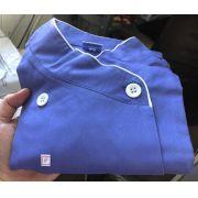 Conjunto  Scrub Anatomys Feminino AZUL Médio  Camisa com ajuste para acinturar atrás e calça Com Elástico e Cordão Azul 100% Algodão