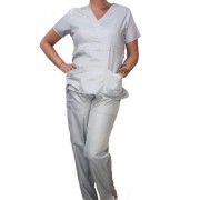 Conjunto Scrub Anatomys Feminino CINZA CLARO Camisa com ajuste para acinturar Atras e Cordão VERDE CLARO para Calça Tecido 100% Poliéster