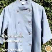 Dólmã Cecília Feminino Acinturado CINZA e botões CINZA Microfibra 100% Poliéster Manga 3/4