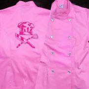 Dólmã Cecília Feminino Acinturado ROSA HAT KNIFE PINK com botões GREY HEART Sarja Leve 100% algodão