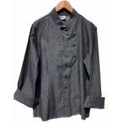 Dólmã Grace Feminina Jeans PRETO (Abotoamento Pressão)- Sarja 100% algodão