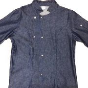 Dólmã Grace MC Acinturada Jeans  (Abotoamento Pressão)- Sarja 100% algodão