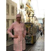 Jaleco Gola de Padre Glaucia Feminino Acinturado ROSA Punho com Presilha botão ROSA  Microfibra Premium