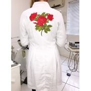 Jaleco Sissi Dress GREY HEART Bordado RED FLOWER Feminino Acinturado  ML Microfibra PREMIUM