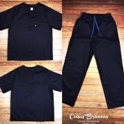 Conjunto Pijama Cirurgico SCRUB PRETO UNISEX  Camisa e Calça com Cordão Azul Tecido 100% algodão