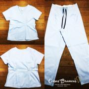 Conjunto  Scrub Anatomys Feminino AZUL  Camisa com ajuste para acinturar atrás e calça Com Elástico e Cordão Azul 100% Algodão