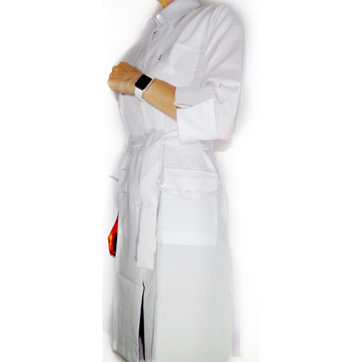 Jaleco Flávia  Feminino Trench Coat Manga ¾ Oxford 100% Poliéster