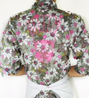 Dólmã Cecília Feminina CAVEIRA CHEF ROSA Flowery 100% algodão