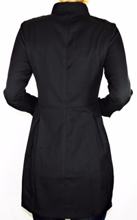 Jaleco Sissi  Dress Feminino Acinturado BLACK  Botões Swarovski MICROFIBRA