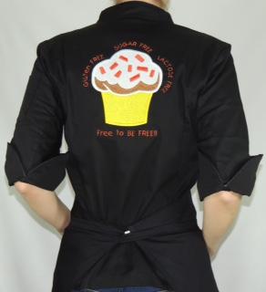 Dólmã Cecília Feminina Acinturada PRETA Yelow CUPCAKE GLUTEN FREE  com vivo e botões pretos  Sarja Leve 100% algodão Manga 3/4