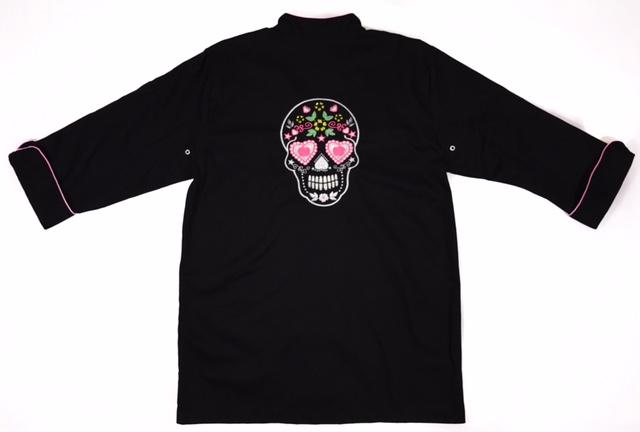 Dólmã Clássico Unissex PRETO CAVEIRA MEXICANA  com vivo e botões PINK - 100% algodão manga 3/4
