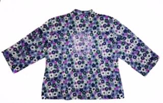 Dólmã Cecília Feminino Acinturado MANDALA Blue Flowers Tricoline 100% Algodão