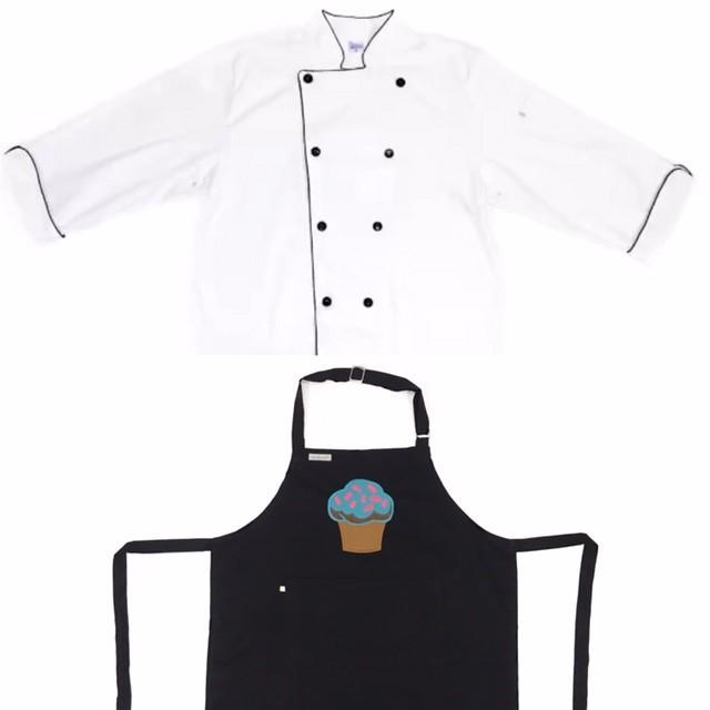 Conjunto Dólmã Clássico Unissex BRANCO com vivo e botões PRETOS 100% algodão manga 3/4 + AVENTAL PRETO CUPCAKE BLUE SKY