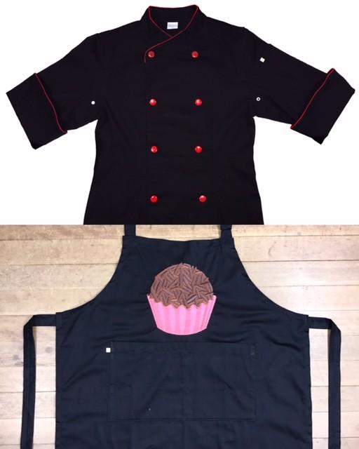 CONJUNTO Dólmã Cecilia Preta Acinturada com vivo e botões VERMELHOS - 100% algodão manga 3/4 +AVENTAL BRIGADEIRO PINK SHINE PRETO
