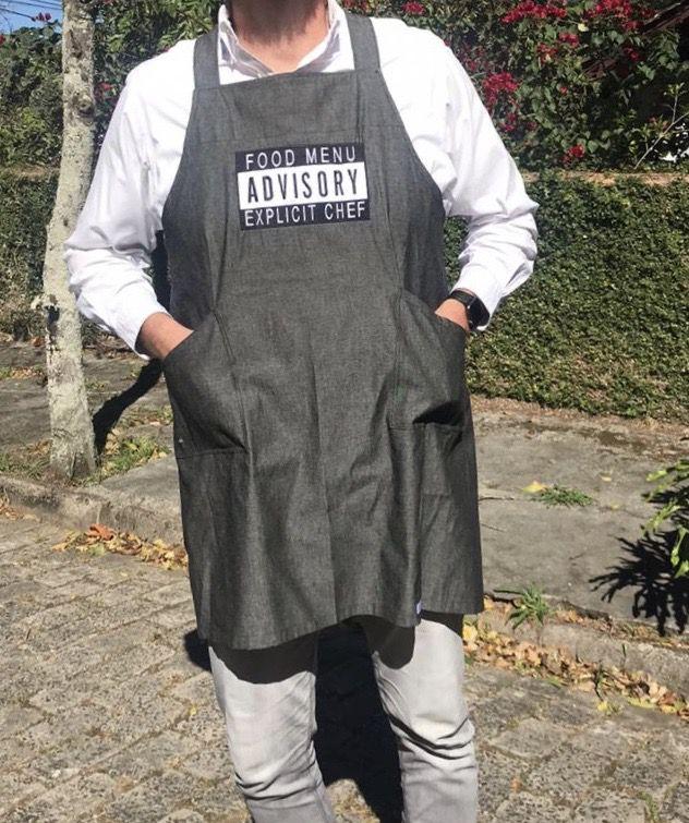 Avental Herbert JEANS  Preto FOOD MENU 100% Algodão