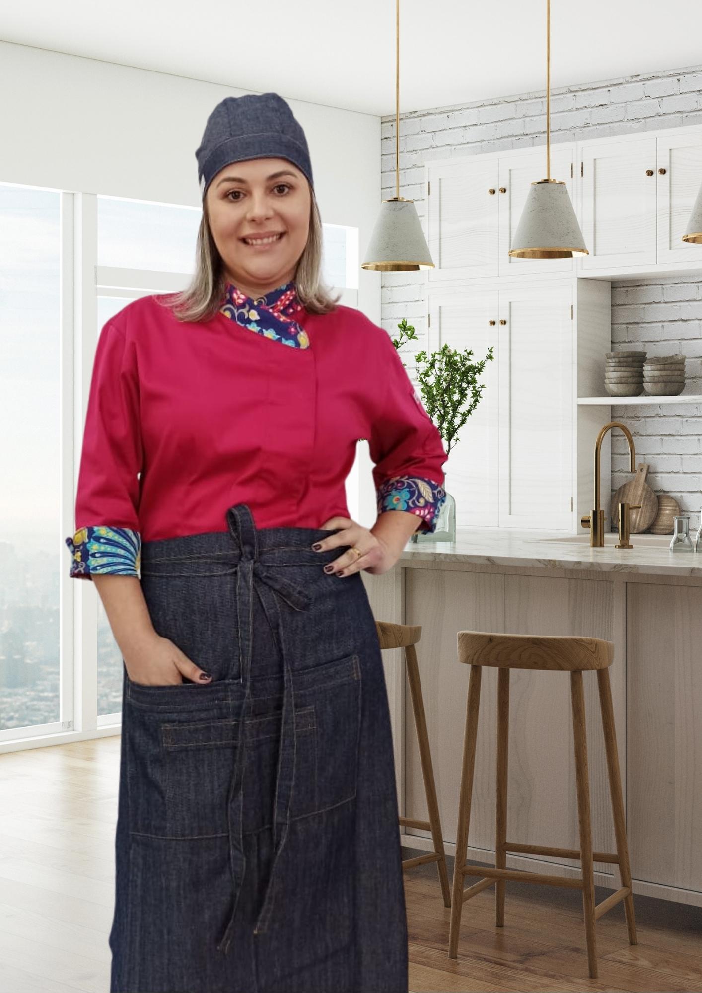 Avental Kim com Bolsos frontal em Jeans 100% algodão