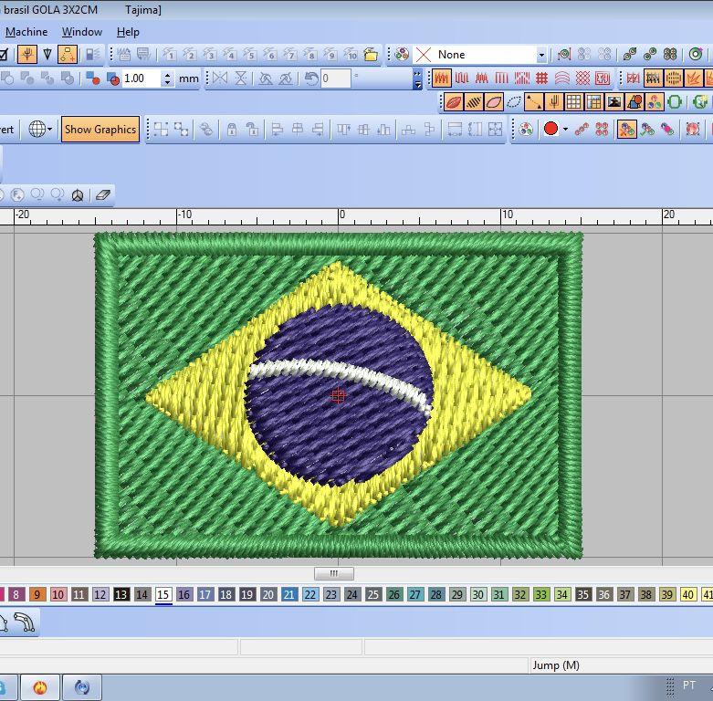 Bordado Bandeira Brasil para gola 3x2cm