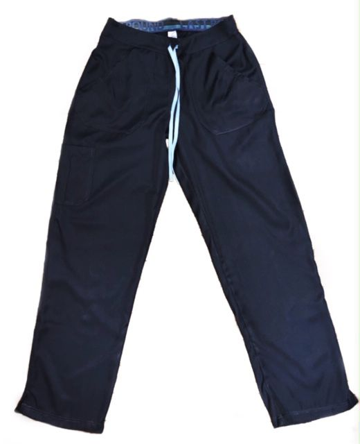 Calça Anatomys UNISEX CINZA ESCURO com dois bolsos na frente e dois atrás e cordão AZUL CLARO Tecido MICROFIBRA 100% Poliéster