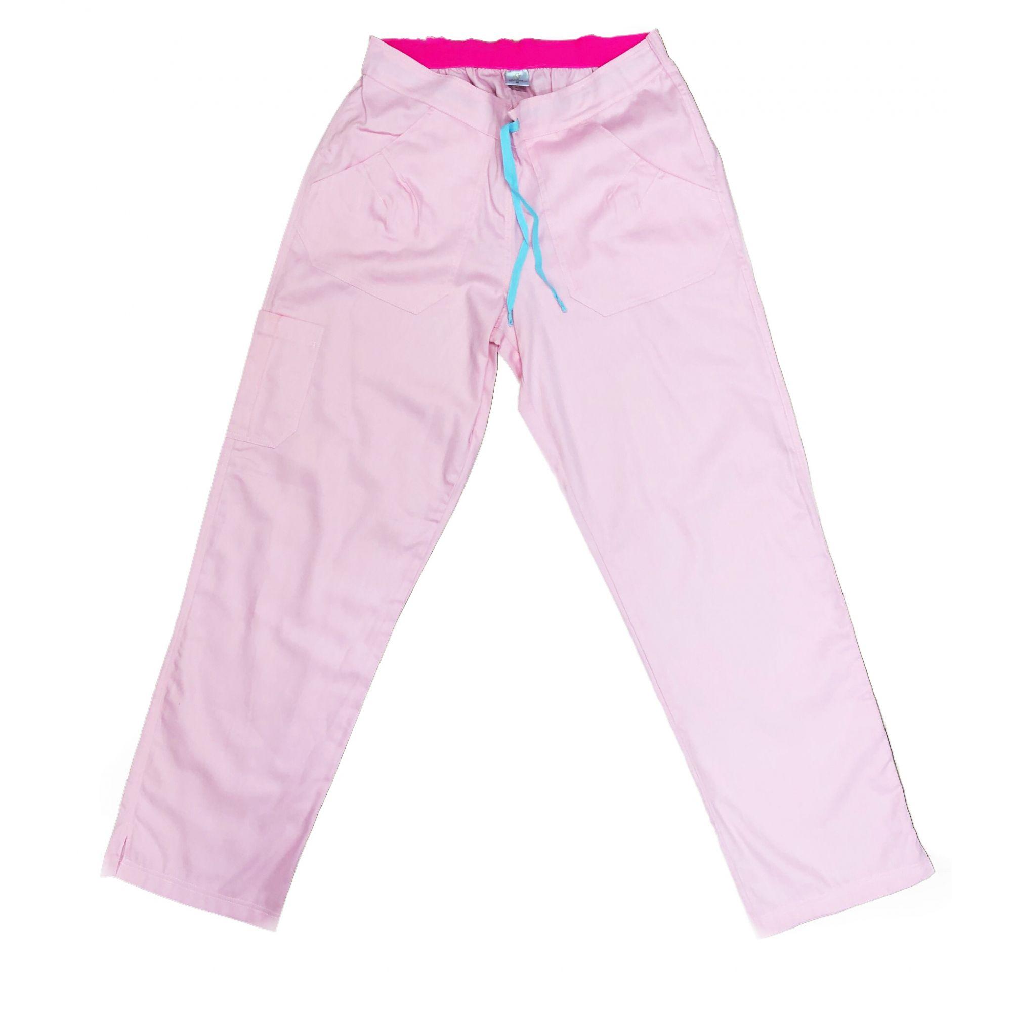 Calça Anatomys UNISEX ROSA CLARO com dois bolsos na frente e dois atrás e cordão AZUL CLARO Tecido Sarja 100% Algodão