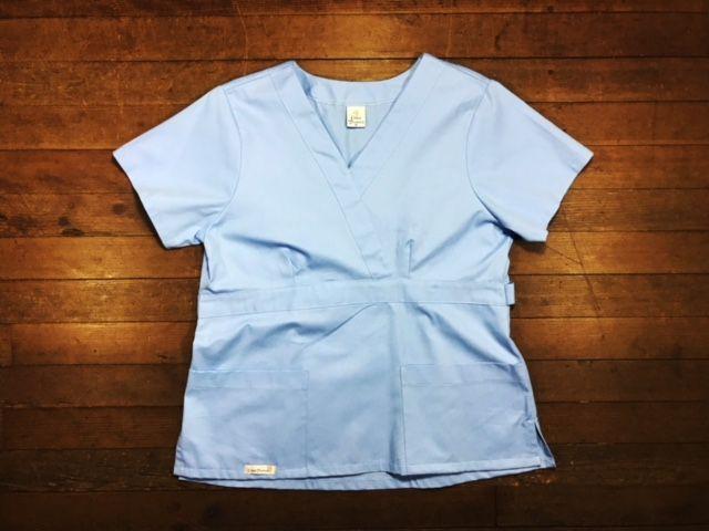 Camisa Scrub Anatomys Feminino  AZUL  com ajuste para acinturar atrás 100% Algodão