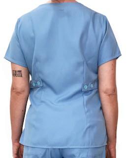Camisa Scrub Anatomys Feminino AZUL  com ajuste para acinturar atrás  Botões AZUL Microfibra Premium 100% Poliéster